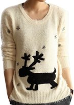 DDOL Women's Long Sleeve Mohair Christmas Deer Knitted Sweater Pullover