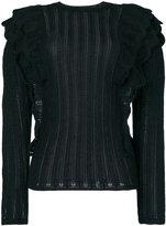 IRO Dolipa ruffled pointelle-knit sweater