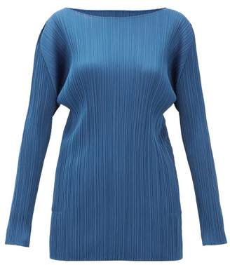 Pleats Please Issey Miyake Technical Pleated Tunic Top - Womens - Blue