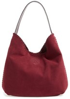 Tory Burch 'Marion' Suede Hobo - Burgundy