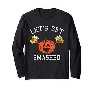 Halloween Drinking Shirt - Pumpkin Says Let's Get Smashed Long Sleeve T-Shirt