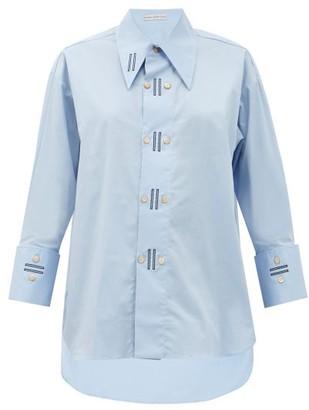 Palmer Harding Palmer//harding - Marcai Exaggerated-collar Cotton-blend Shirt - Light Blue