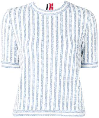 Thom Browne Wide University Stripe Yarn Tee