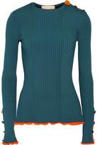 Roksanda Rhea Embellished Ribbed Stretch-knit Sweater - Petrol