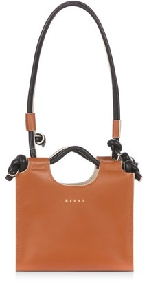 Marni Marcel Small Knotted-handle Leather Tote Bag - Tan Multi