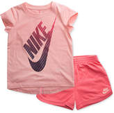 Nike 2-Pc. Logo-Print T-Shirt & Shorts Set, Little Girls