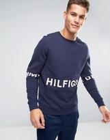 Tommy Hilfiger Crew Sweatshirt Oversized Logo Body & Sleeve in Navy