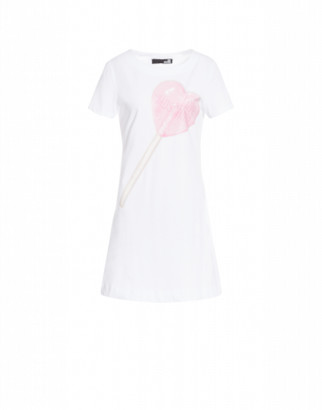 Love Moschino Short Dress Lollipop Woman White Size 40 It - (6 Us)