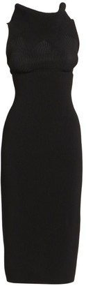 Alaia Dramatic Goddess Rib-Knit Sheath Dress
