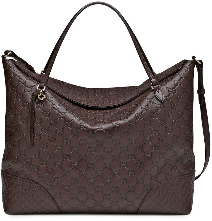 Gucci Bree Large Double-Handle Leather Tote, Chocolate
