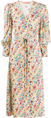Andamane Floral Midi Wrap Dress