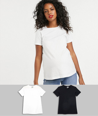 ASOS DESIGN Maternity ultimate organic cotton crew neck t-shirt 2 pack SAVE
