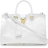 Saint Laurent Small Cabas Y White Leather Tote