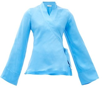Worme - The Slim Silk Wrap Blouse - Blue