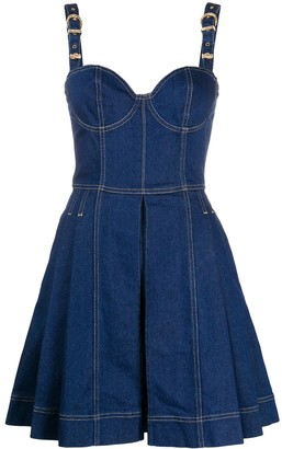 Versace Jeans Couture Pleated Denim Mini Dress