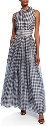 Shoshanna Tahla Checkered Sleeveless Long Belted Shirtdress