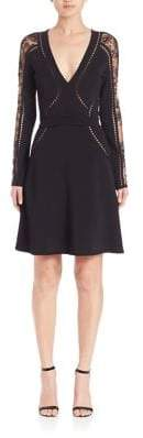Elie Saab Perforated Knit Fit-&-Flare Dress