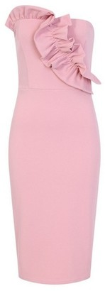 Dorothy Perkins Womens Girls On Film Pink Frill Scuba Crepe Bodycon Dress, Pink