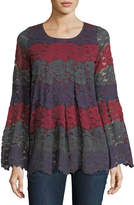 Lumie Bell-Sleeve Striped Lace Tunic