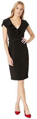 Kate Spade Ruffle Matte Crepe Dress (Black) Women's Clothing