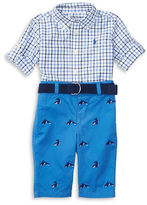 Ralph Lauren Baby Boys Two-Piece Tattersall Poplin Shirt and Whale-Embroidered Twill Pants Set