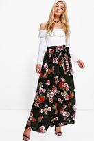boohoo Bex Floral Chiffon Wrap Maxi Skirt multi