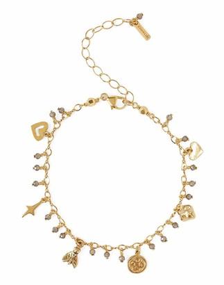 Chan Luu Mystic Smokey Swarovski Crystal Dainty Goldtone Charm Bracelet Adjustable