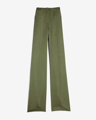 Express High Waisted Satin Seamed Wide Leg Pant