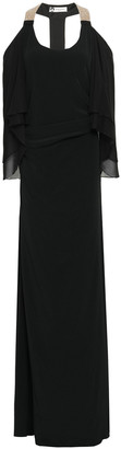 Lanvin Cape-effect Georgette-paneled Embellished Crepe Gown