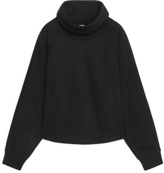 Arket Leather Trim Funnel Neck Sweatshirt