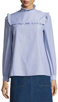 A.P.C. Thea Ruffle-Collar Poplin Blouse, Blue