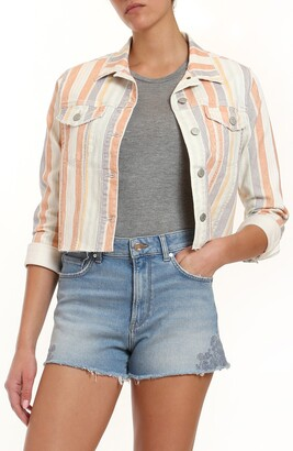 Mavi Jeans Sienna Stripe Crop Raw Hem Denim Jacket