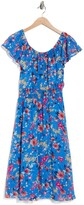 Thumbnail for your product : Sandra Darren Floral Off-the-Shoulder Ruffled Chiffon Midi Dress