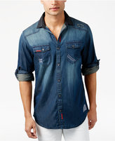 INC International Concepts Men's Distressed Denim Shirt, Only at Macy's