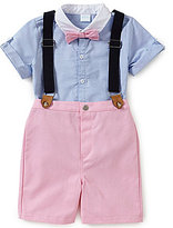 Edgehill Collection Baby Boys Newborn-24 Months Oxford Short-Sleeve Shirt, Suspenders & Shorts Set
