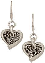 Lois Hill Sterling Silver Granulated Heart Drop Earrings