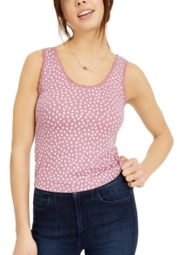 Hippie Rose Juniors' Printed Lace-Trimmed Rib-Knit Tank Top