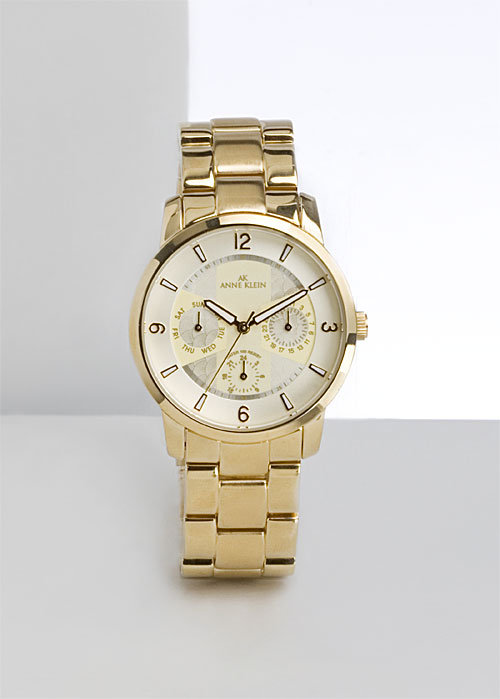 Anne Klein Gold Tone Three Link Braclet Watch