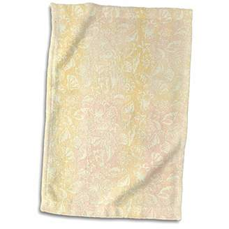 """3D Rose Image of Fish Seashells and Crab in Yellow and Coral TWL_174706_1 Towel 15"""" x 22"""""""