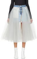 Unravel Blue Denim Tulle Reversed Miniskirt
