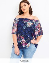Girls On Film Curve Printed Lace Bardot Top