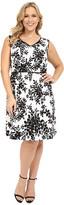 London Times Plus Size Ikat Branch Full Skirt