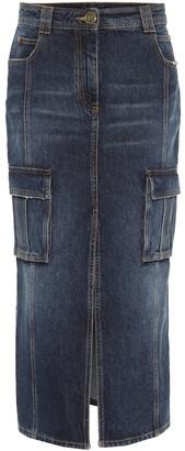 Balmain High-rise denim pencil skirt