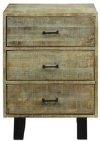 Stylecraft Solid Mango Wood 3 Drawer Storage Chest with Scored Finish and Metal Hardware On Metal Legs - Grey Wash