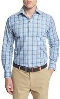 Peter Millar Windowpane Long-Sleeve Sport Shirt, Azure