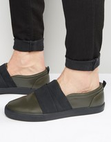 Asos Slip On Sneakers in Khaki With Elastic Straps