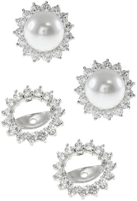 Kenneth Jay Lane Cz By Shell Pearl & CZ Halo Jacket Earrings