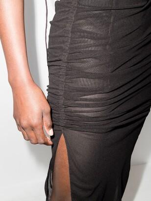 Supriya Lele Brown Ruched Sheer Midi Dress