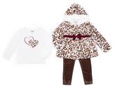 Little Lass Natural & Brown Faux Fur Jacket Set - Girls