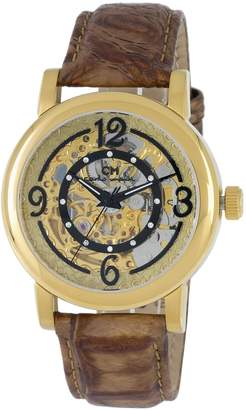 Monti Carlo Ladies Automatic Watch with Gold Dial Analogue Display and Brown Leather Strap CM120-200